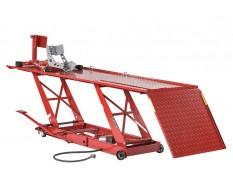 Heftafel voor motorfiets hydraulisch en pneumatisch met inrijklem - heftafel motor kleur rood
