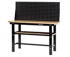 Werkbank zwart 150 cm met hardhouten blad + gereedschapsbord - zwart