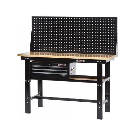 Werkbank zwart 150 cm met hardhouten blad + gereedschapskist en zwart gereedschapsbord
