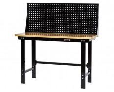 Werkbank zwart 150 cm met hardhouten blad en gereedschapsbord - zwart