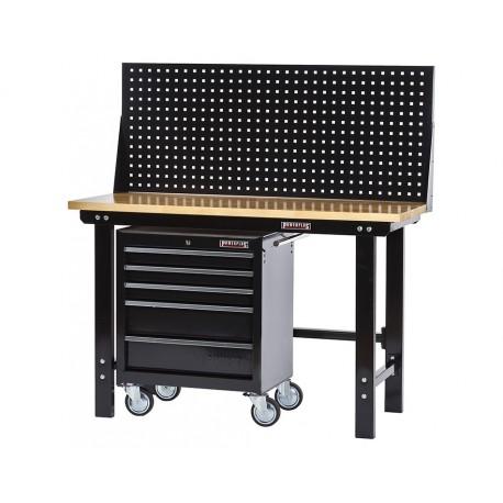 Werkbank zwart 150 cm met hardhouten blad + gereedschapswagen en zwart gereedschapsbord
