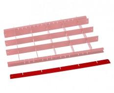 Metalen vakverdeling strip lang - rood
