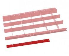 Metalen vakverdeling strip kort - rood