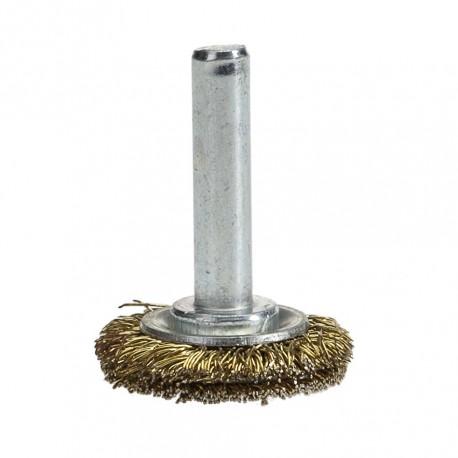 Staalborstel 25 mm op 6 mm stift met gegolfde staaldraad / draadborstel / schuurborstel