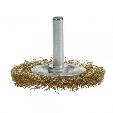 Staalborstel 50 mm op 6 mm stift met gegolfde staaldraad / draadborstel / schuurborstel