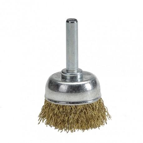 Komborstel 30 mm op 6 mm stift met gegolfde staaldraad / staalborstel / draadborstel / schuurborstel