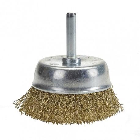 Komborstel 63 mm op 6 mm stift met gegolfde staaldraad / staalborstel / draadborstel / schuurborstel