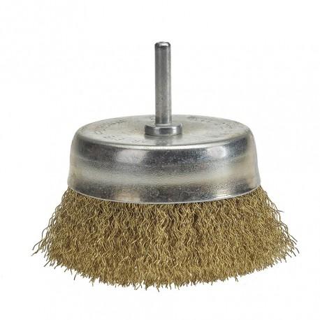 Komborstel 85 mm op 6 mm stift met gegolfde staaldraad / staalborstel / draadborstel / schuurborstel