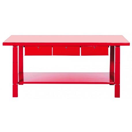 Werkbank staal 200 cm met 3 laden - rood