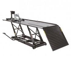 Extra brede heftafel hydraulisch met inrijklem voor motor - heftafel motorfiets kleur zwart - motorheftafel.