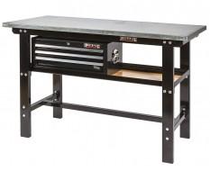 Werkbank zwart 150 cm met zinken werkblad en gereedschapskist