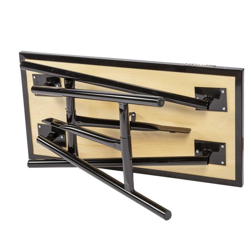 Inklapbare werkbank 120 cm met houten werkblad   zwart   Powerplustools