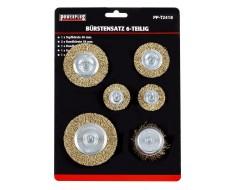 Set van 6 borstels: 1 x 50 mm komborstel + 5 staalborstels: 38 (2x),50,63 en 75 mm. Op 6 mm stift met gegolfde staaldraad
