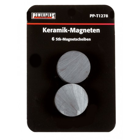 Set van 6 stuks schijfmagneten 25 mm / keramische Ferriet magneten