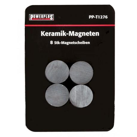 Set van 8 stuks schijfmagneten 17 mm / keramische Ferriet magneten