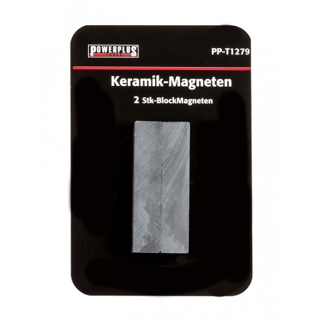 Set van 2 stuks blokmagneten 46 mm lang / keramische Ferriet magneten