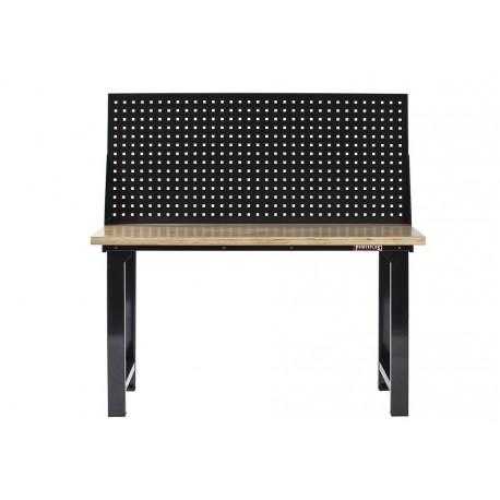 Werkbank hout zwart 152 cm met gereedschapsbord
