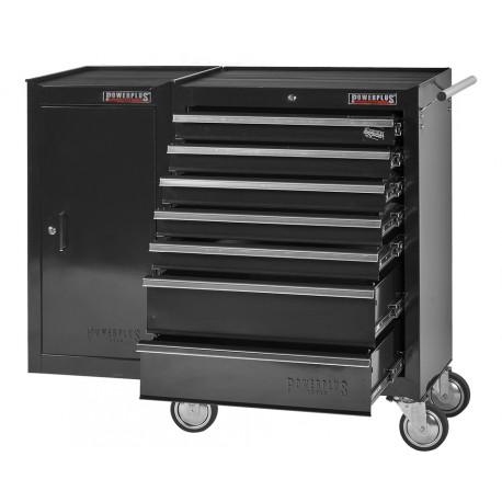 Gereedschapswagen 7 laden + gereedschapskast - zwart