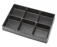 Kunststof bak / vakverdeling 6 vakken 270 x 185 x 38 mm voor gereedschapswagen