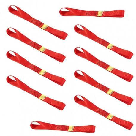Set van 10 stuks spanbanden 30 cm met dubbele lus / sjorband zonder ijzeren haken