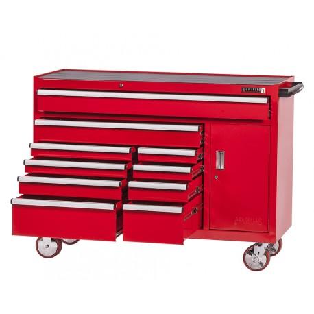 Extra grote professionele gereedschapswagen 10 laden met quick lock - rood