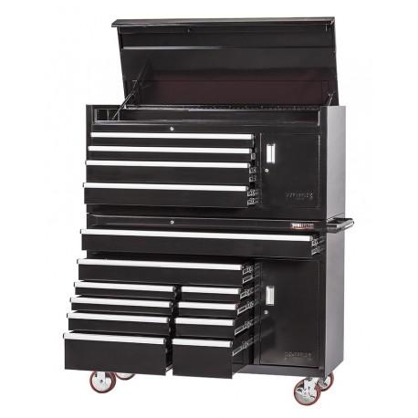 Extra grote professionele gereedschapswagen set 14 laden met quick lock - zwart