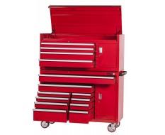Extra grote professionele gereedschapswagenset 14 laden met quick lock - rood
