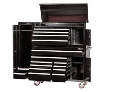 Extra grote professionele gereedschapswagen set 14 laden met quick lock en gereedschapskast - zwart