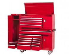 Extra grote professionele gereedschapswagenset 14 laden met quick lock met gereedschapskast - rood