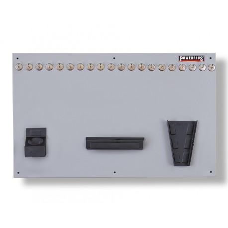 Gereedschapsbord grijs 100 x 61 cm inclusief magnetische haken en houders - Gereedschapbord.