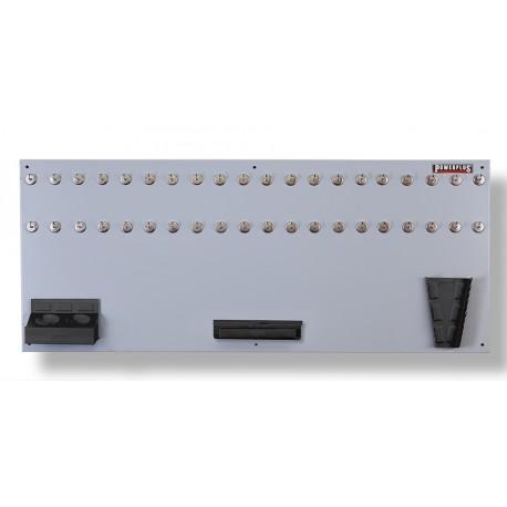 Gereedschapsbord grijs 150 x 61 cm inclusief magnetische haken en houders - Gereedschapbord.