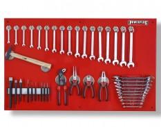 Gereedschapsbord - rood 100 x 61 cm incl. gereedschap, magnetische haken en houders - Gereedschapbord