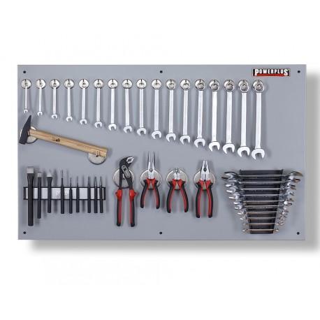Gereedschapsbord grijs 100 x 61 cm inclusief gereedschap, magnetische haken en houders - Gereedschapbord