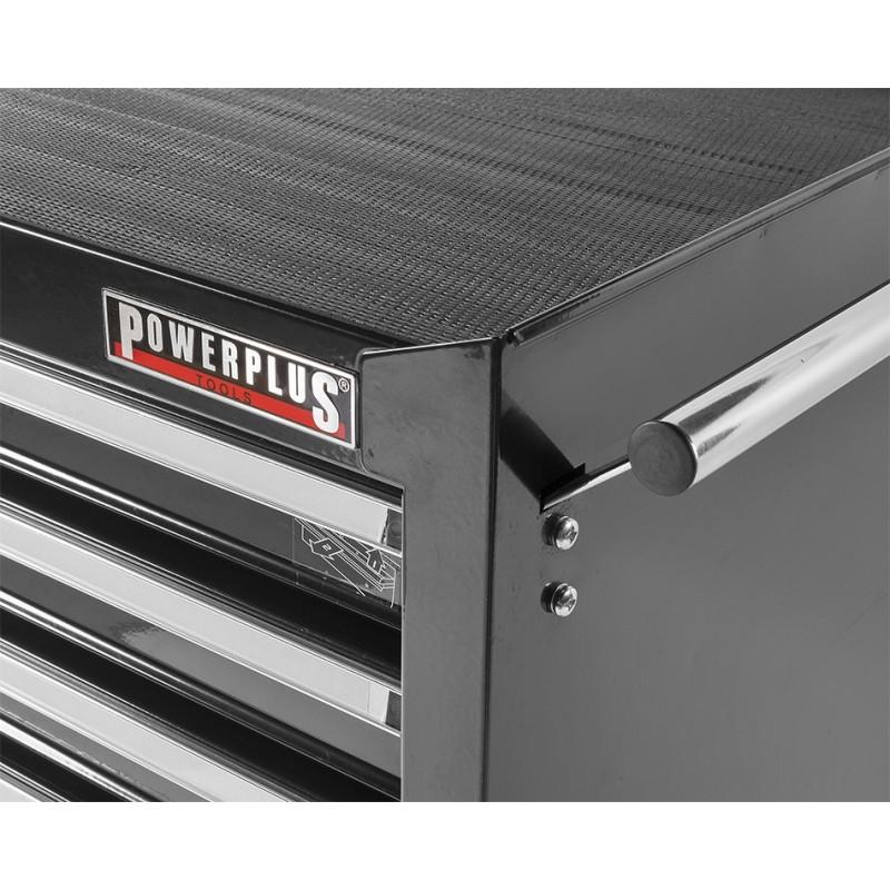 Werkbank zwart 200 cm met hardhouten blad + gereedschapswagen en gereedschapsbord   Powerplustools