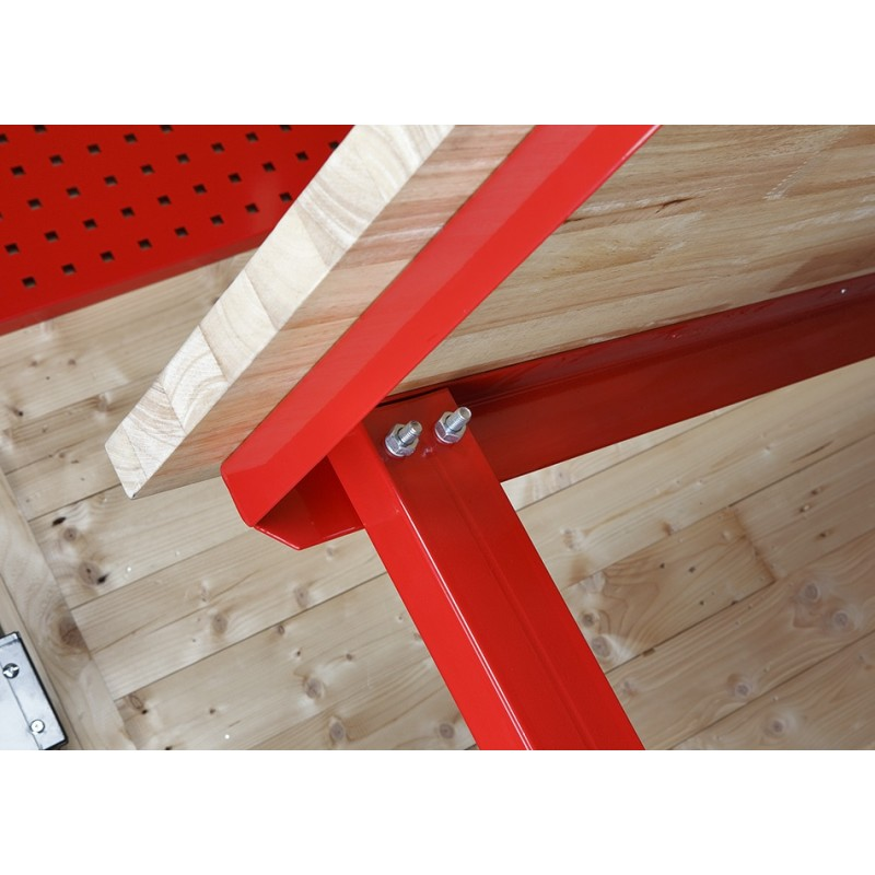 werkbank 200 cm met hardhouten blad met opzetrand powerplustools. Black Bedroom Furniture Sets. Home Design Ideas