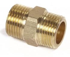 Messing draadnippel / draadfitting met 2 x 3/8 buitendraad voor mobiele ketels 0009/0010