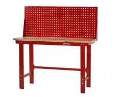 Werkbank rood 150 cm met hardhouten blad en gereedschapsbord