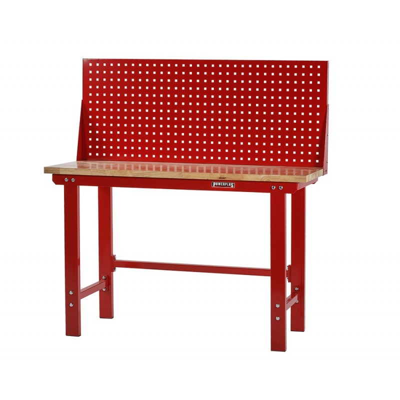 Werkbank rood 150 cm met hardhouten blad en gereedschapsbord   Powerplustools