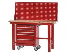 Werkbank rood 150 cm met hardhouten blad + gereedschapswagen en gereedschapsbord