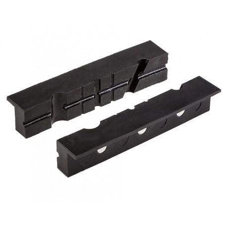 Set (2 st.) zachte bekken met groeven (kunststof met magneten) 15,5 x 3 cm. - voor bankschroef