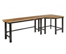 Werkbank hoekopstelling - Hoek werkbank 310 cm. lang zwart met hardhouten blad