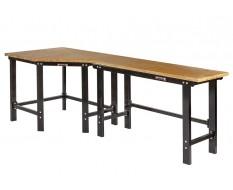 Werkbank hoekopstelling - Hoek werkbank 260 cm lang zwart met hardhouten blad