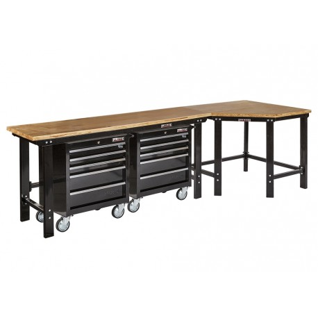 werkbank hoekopstelling hoek werkbank 310 cm lang zwart met hardhouten blad en 2. Black Bedroom Furniture Sets. Home Design Ideas