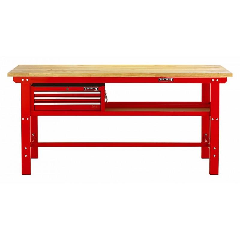 werkbank rood 200 cm met hardhouten blad en gereedschapskist powerplustools. Black Bedroom Furniture Sets. Home Design Ideas