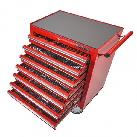 Gereedschapswagen rood met 7 gevulde laden - laag model - gevuld met gereedschap