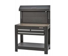 Werkbank met lades en gereedschapbord zwart 114 cm