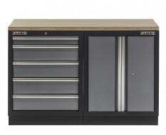 Werkbank set met multiplex blad, werkplaatskast en 5 laden blok - 136 x 46 x 94,6 cm