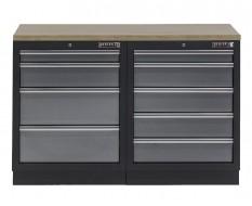 Werkbank set - Werkplaatskast - Gereedschapskast met multiplex werkblad en 9 laden - 136 x 46 x 94,6 cm.