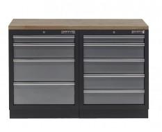 Werkbank set - Werkplaatskast - Gereedschapskast met hardhouten werkblad en 9 laden - 136 x 46 x 94,6 cm.