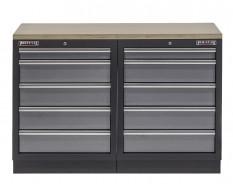 Werkbank set met multiplex werkblad en 10 laden - 136 x 46 x 94,6 cm.